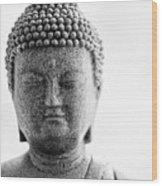Buddha In Black And White Wood Print