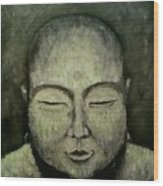 Buddha In Green Wood Print