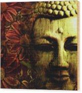Buddha In Red Chrysanthemums Wood Print