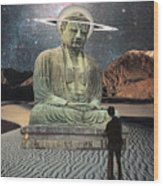 Buddha In Saturn Wood Print