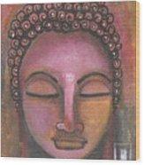 Buddha In Shades Of Purple Wood Print