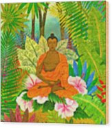 Buddha In The Jungle Wood Print