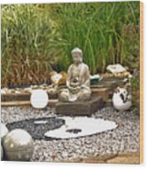 Buddha Looks At Yin And Yang Wood Print