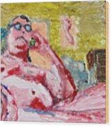 Buddha On The Phone One Of Four Wood Print