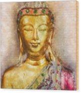 Buddha Peace Love And Light Wood Print