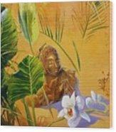 Buddha Sculp Wood Print