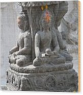 Buddha Statue At Temple - Swayambunat  Wood Print