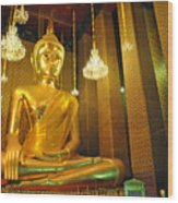 Buddha Statue Wood Print by Somchai Suppalertporn