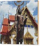 Buddha Statue With Sunshade Outside Temple Hat Yai Thailand Wood Print