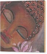 Buddha With Pink Lotus Wood Print