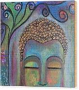 Buddha With Tree Of Life Wood Print
