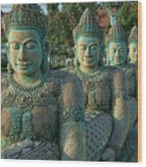 Buddhas All In A Row Wood Print