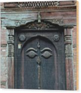 Buddha's Eyes On Nepalese Wooden Door Wood Print