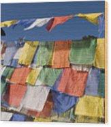 Buddhist Prayer Flags Wood Print