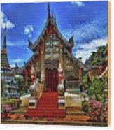 Buddhist Temples In Chiang Mai Wood Print