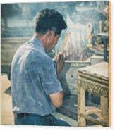 Buddhist Way Of Praying Wood Print