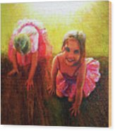 Budding Ballerinas Wood Print