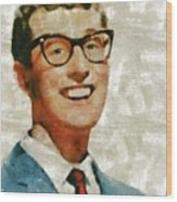 Buddy Holly By Mary Bassett Wood Print