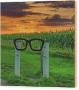 Buddy Holly Glasses Wood Print