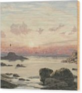 Bude Sands At Sunset Wood Print by John Brett
