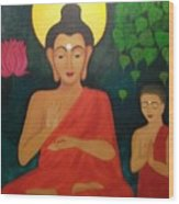 Budha Blessing Wood Print