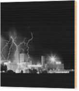 Budweiser Lightning Thunderstorm Moving Out Bw Wood Print