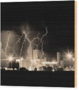 Budweiser Lightning Thunderstorm Moving Out Bw Sepia Crop Wood Print