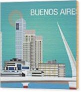 Buenos Aires Argentina Horizontal Skyline - Blue Wood Print