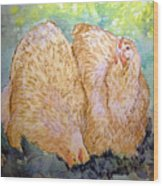Buff Orpington Hens In The Garden Wood Print