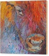 Buffalo Bison Wild Life Oil Painting Print Wood Print