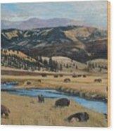 Buffalo By A Stream Wood Print