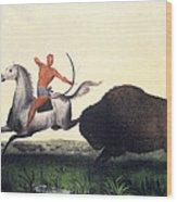 Buffalo Hunt, 1832 Wood Print