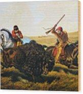 Buffalo Hunt, 1862 Wood Print