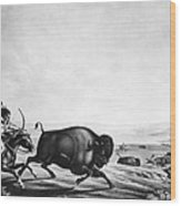 Buffalo Hunt, C1830 Wood Print