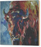 Buffalo In Blue Wood Print