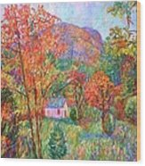 Buffalo Mountain In Fall Wood Print