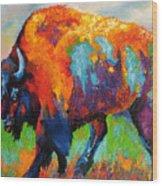 Buffalo On Weed Wood Print