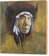 Buffalo Shaman Wood Print by J W Baker