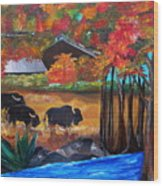 Buffalos In Lost Maples Wood Print
