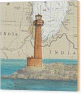 Buffington Harbor Lighthouse In Nautical Chart Map Wood Print