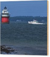 Bug Light And Lobster Boat Wood Print