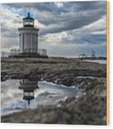 Bug Light Clouds And Reflection Wood Print