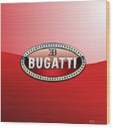 Bugatti - 3 D Badge On Red Wood Print