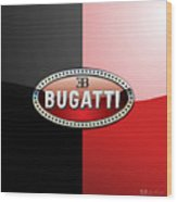 Bugatti 3 D Badge On Red And Black  Wood Print