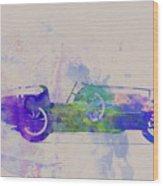 Bugatti Type 35 R Watercolor 2 Wood Print by Naxart Studio