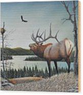 Bugling Elk Wood Print