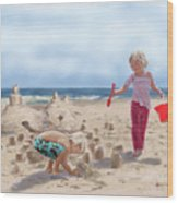 Builders On The Beach Wood Print
