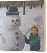 Building A Snowman  Wood Print