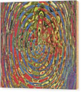 Building Of Circles And Waves Colored Yellow Red And Blue Wood Print