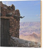 Building On The Grand Canyon Ridge Wood Print